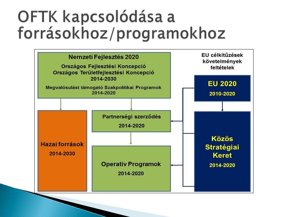 Szakpolitikai és átfogó stratégiák Nemzeti Vidékstratégia EU 2020 11 tematikus célkitűzés OFTK Partnerségi Szerződés Operatív Programok Hazai fejlesztési, szakpolitikai programok OFTK helye a tervek között Megyei tf.