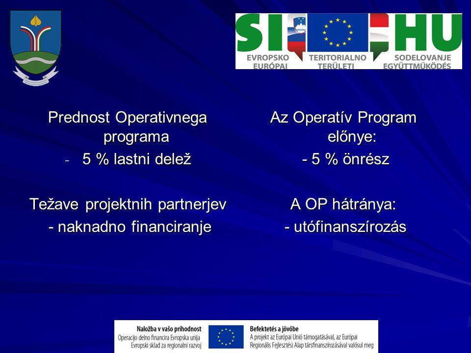 Prednost Operativnega programa - 5 % lastni delež Težave projektnih partnerjev - naknadno financiranje - naknadno financiranje Az Operatív Program elő