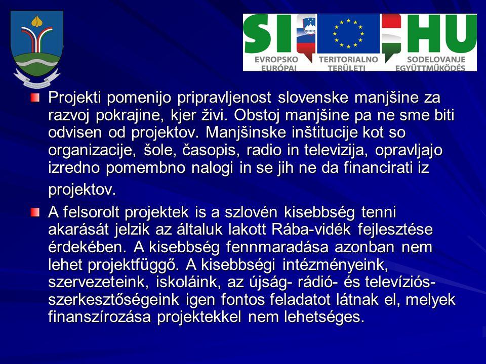 Projekti pomenijo pripravljenost slovenske manjšine za razvoj pokrajine, kjer živi. Obstoj manjšine pa ne sme biti odvisen od projektov. Manjšinske in