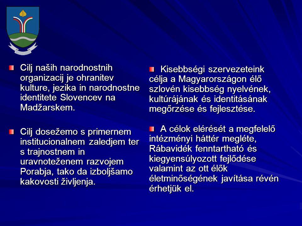 Cilj naših narodnostnih organizacij je ohranitev kulture, jezika in narodnostne identitete Slovencev na Madžarskem. Cilj dosežemo s primernem instituc
