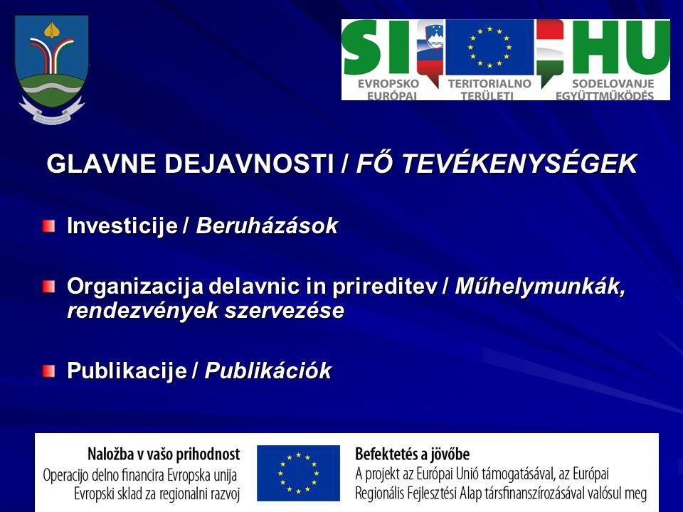 GLAVNE DEJAVNOSTI / FŐ TEVÉKENYSÉGEK Investicije / Beruházások Organizacija delavnic in prireditev / Műhelymunkák, rendezvények szervezése Publikacije