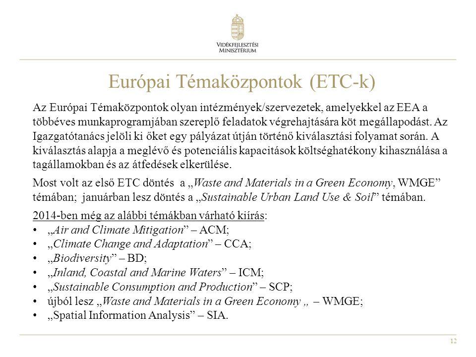 12 Európai Témaközpontok (ETC-k) Az Európai Témaközpontok olyan intézmények/szervezetek, amelyekkel az EEA a többéves munkaprogramjában szereplő feladatok végrehajtására köt megállapodást.