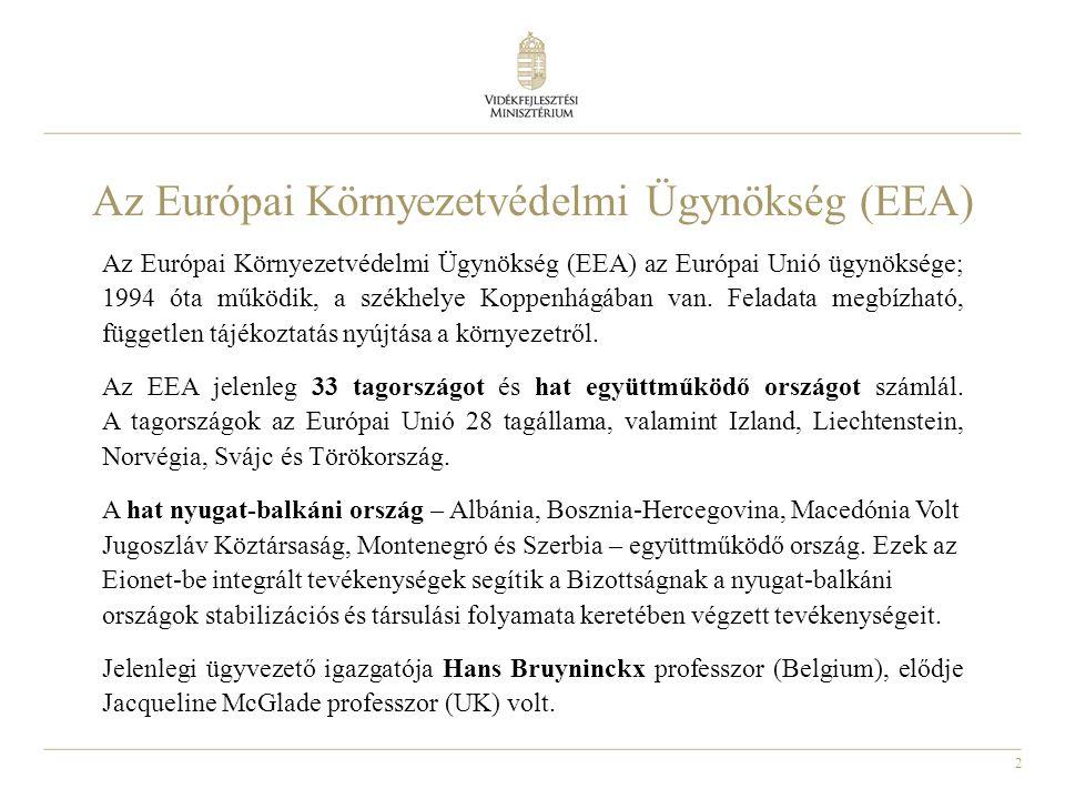2 Az Európai Környezetvédelmi Ügynökség (EEA) Az Európai Környezetvédelmi Ügynökség (EEA) az Európai Unió ügynöksége; 1994 óta működik, a székhelye Koppenhágában van.