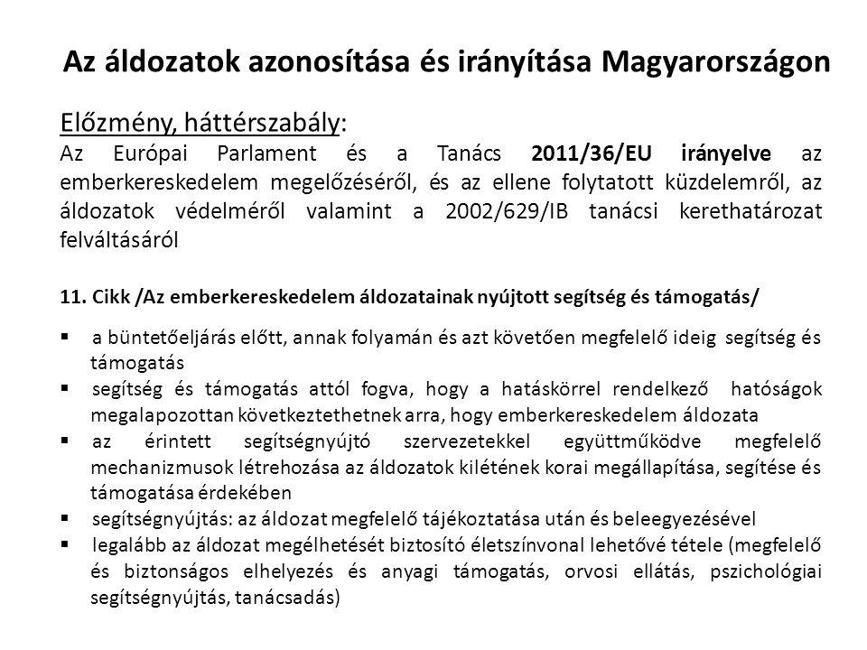 Az áldozatok azonosítása és irányítása Magyarországon Előzmény, háttérszabály: Az Európai Parlament és a Tanács 2011/36/EU irányelve az emberkereskedelem megelőzéséről, és az ellene folytatott küzdelemről, az áldozatok védelméről valamint a 2002/629/IB tanácsi kerethatározat felváltásáról 11.