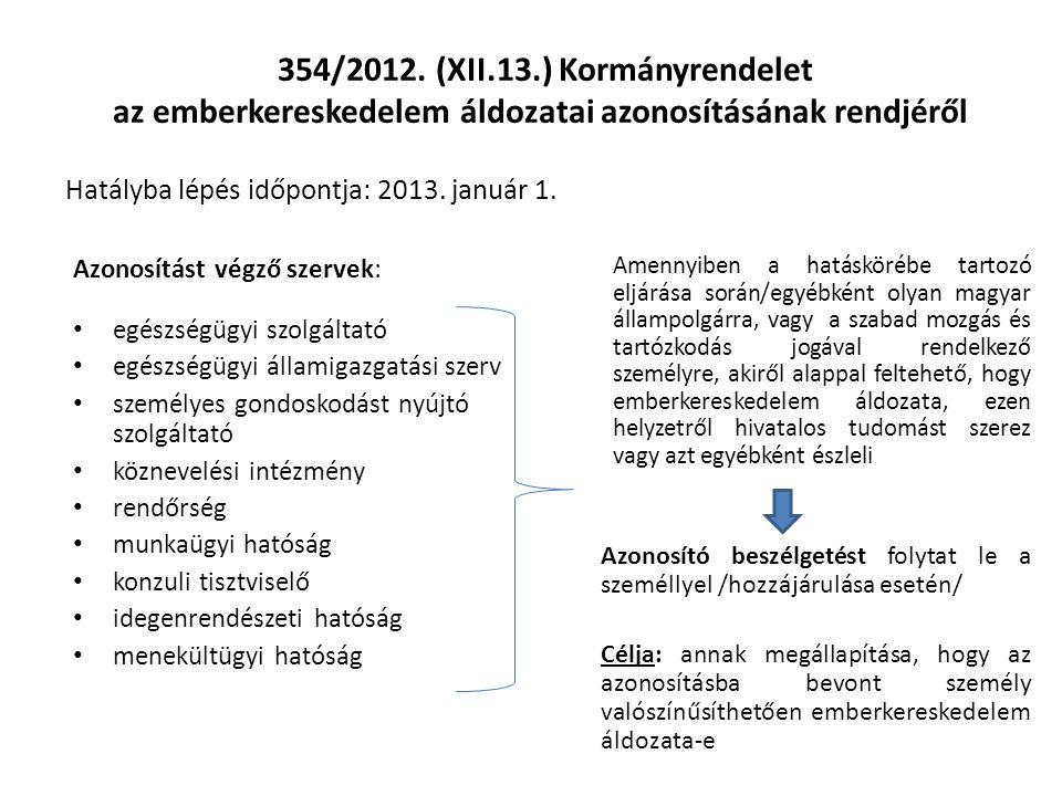 354/2012. (XII.13.) Kormányrendelet az emberkereskedelem áldozatai azonosításának rendjéről Hatályba lépés időpontja: 2013. január 1. Azonosítást végz