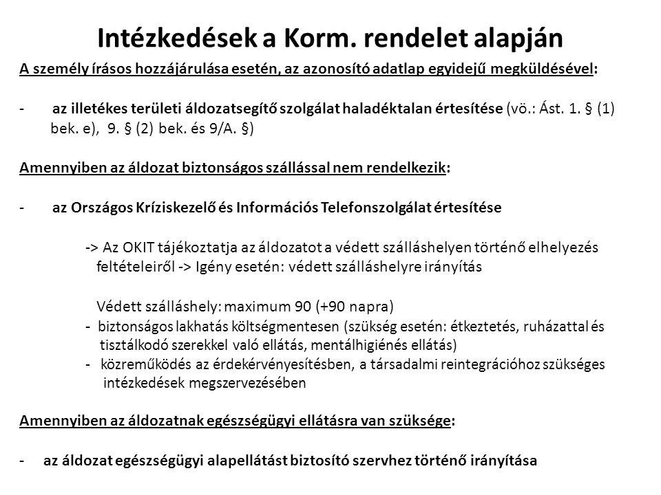 Intézkedések a Korm. rendelet alapján A személy írásos hozzájárulása esetén, az azonosító adatlap egyidejű megküldésével: -az illetékes területi áldoz