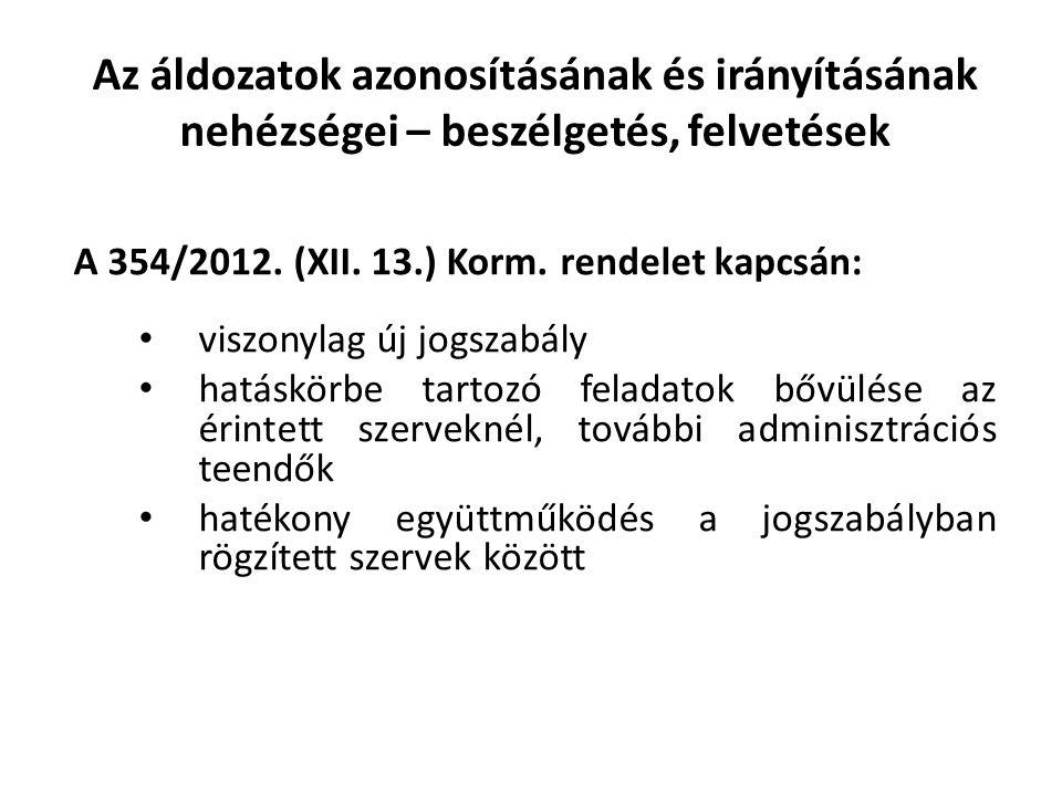 Az áldozatok azonosításának és irányításának nehézségei – beszélgetés, felvetések A 354/2012. (XII. 13.) Korm. rendelet kapcsán: viszonylag új jogszab