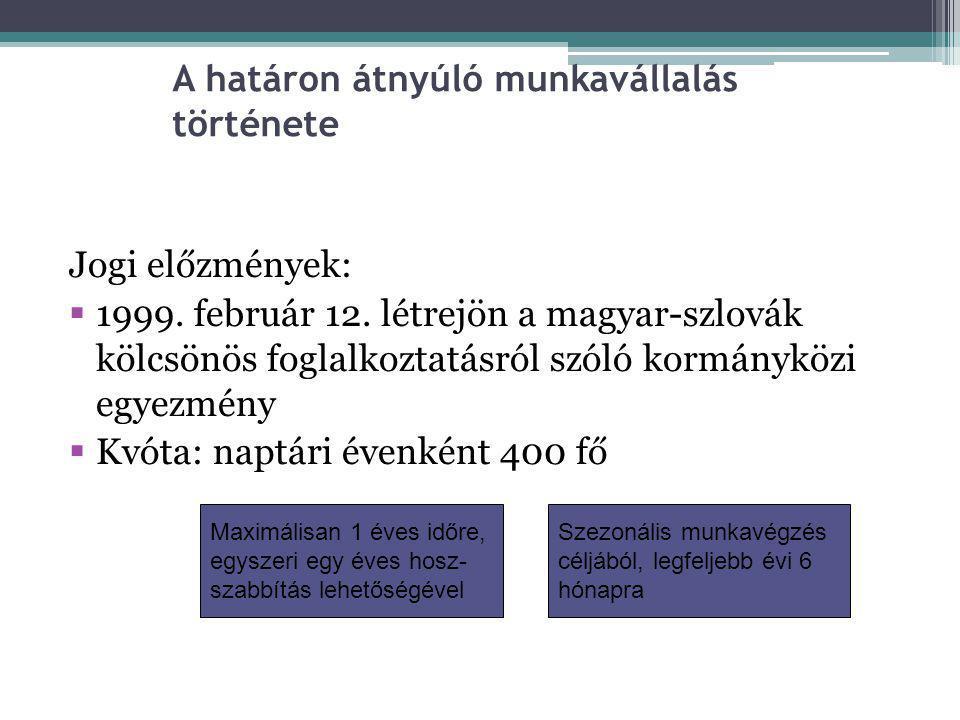 A határon átnyúló munkavállalás története Jogi előzmények:  1999. február 12. létrejön a magyar-szlovák kölcsönös foglalkoztatásról szóló kormányközi