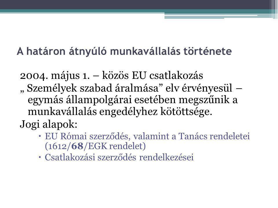 """A határon átnyúló munkavállalás története 2004. május 1. – közös EU csatlakozás """" Személyek szabad áralmása"""" elv érvényesül – egymás állampolgárai ese"""