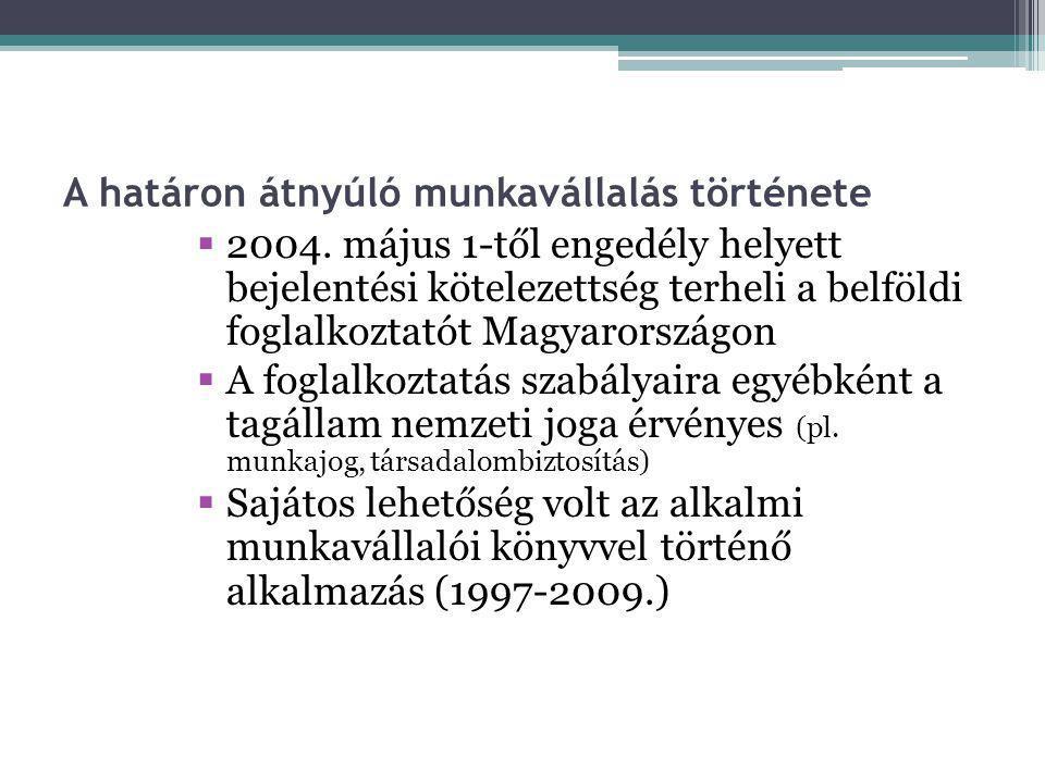 A határon átnyúló munkavállalás története  2004. május 1-től engedély helyett bejelentési kötelezettség terheli a belföldi foglalkoztatót Magyarorszá