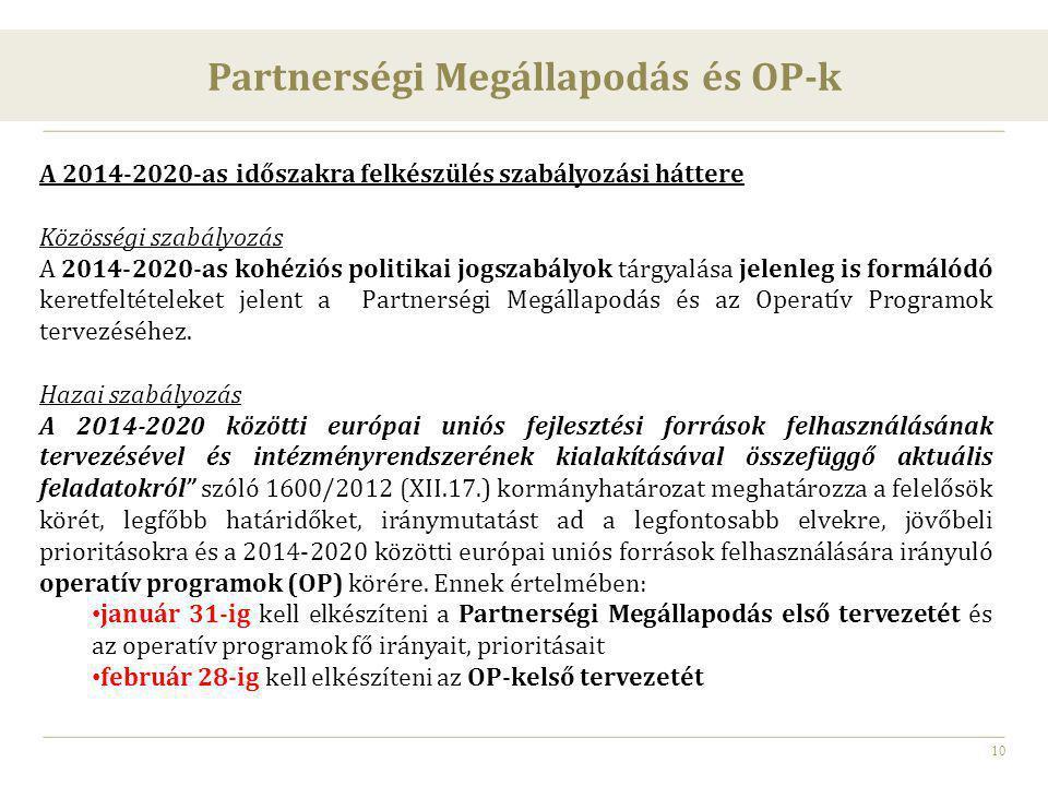 10 A 2014-2020-as időszakra felkészülés szabályozási háttere Közösségi szabályozás A 2014-2020-as kohéziós politikai jogszabályok tárgyalása jelenleg