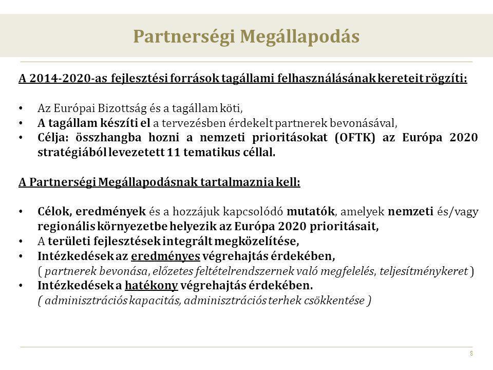 8 Partnerségi Megállapodás A 2014-2020-as fejlesztési források tagállami felhasználásának kereteit rögzíti: Az Európai Bizottság és a tagállam köti, A