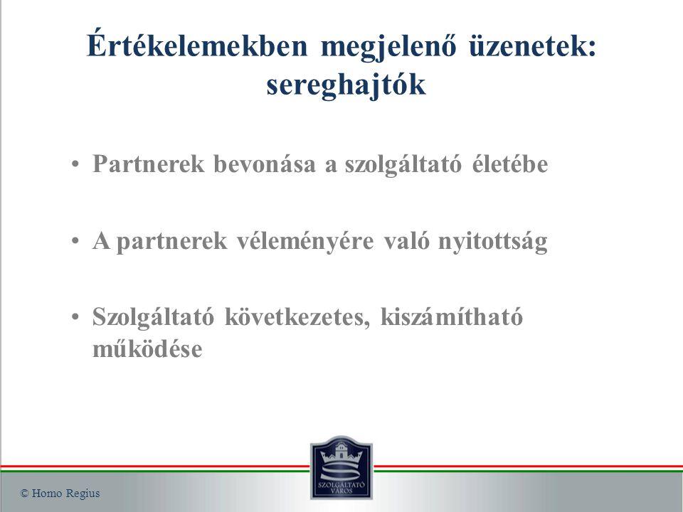 © Homo Regius Értékelemekben megjelenő üzenetek: sereghajtók Partnerek bevonása a szolgáltató életébe A partnerek véleményére való nyitottság Szolgáltató következetes, kiszámítható működése