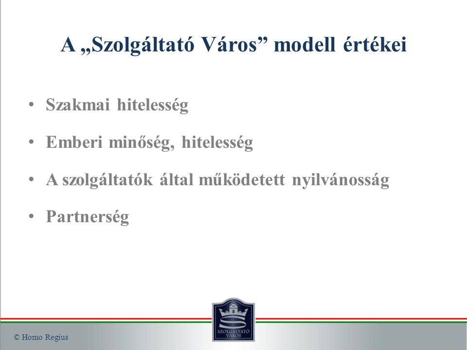 """© Homo Regius A """"Szolgáltató Város modell értékei Szakmai hitelesség Emberi minőség, hitelesség A szolgáltatók által működetett nyilvánosság Partnerség"""