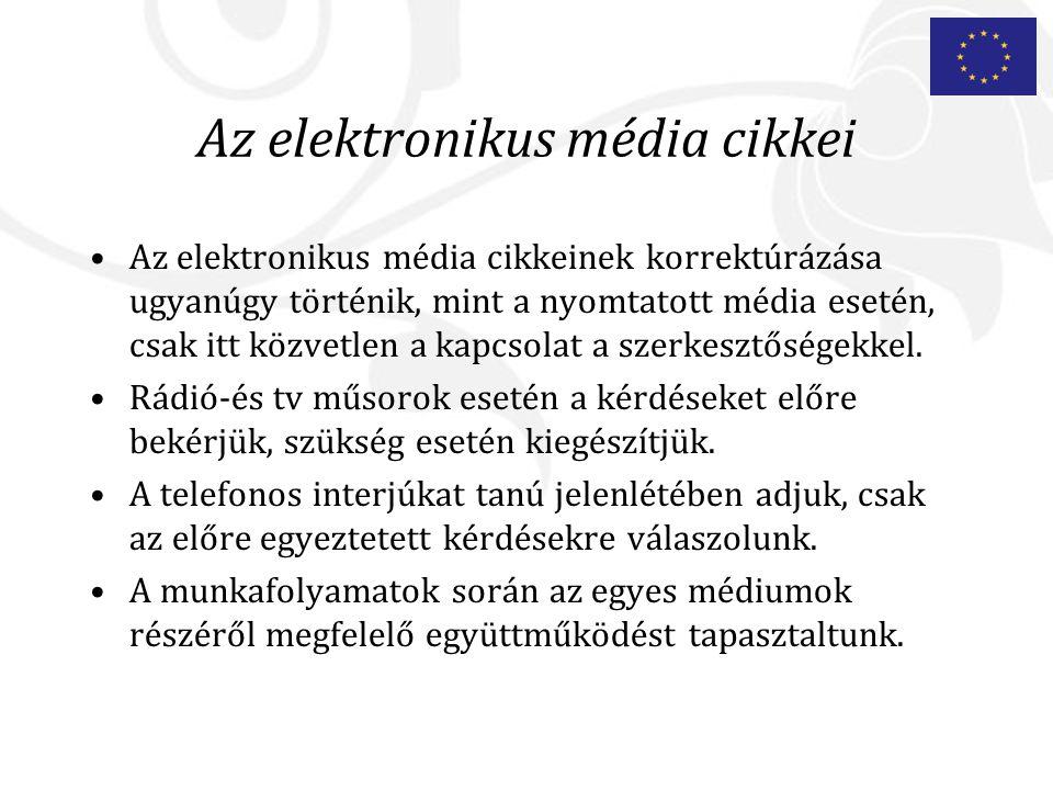 Az elektronikus média cikkei Az elektronikus média cikkeinek korrektúrázása ugyanúgy történik, mint a nyomtatott média esetén, csak itt közvetlen a kapcsolat a szerkesztőségekkel.
