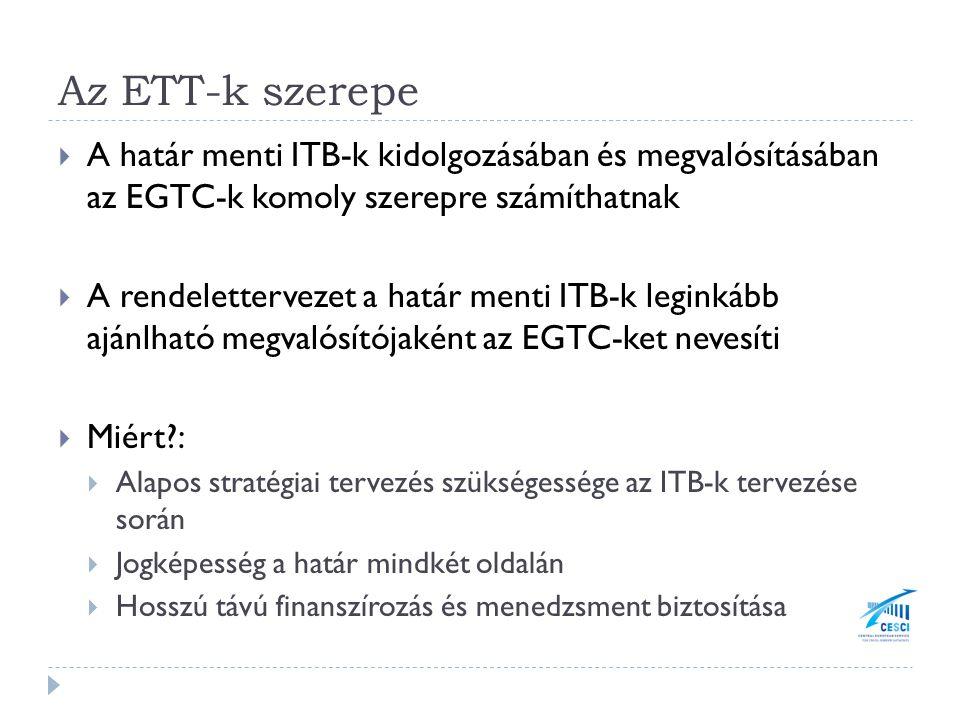 Az ETT-k szerepe  A határ menti ITB-k kidolgozásában és megvalósításában az EGTC-k komoly szerepre számíthatnak  A rendelettervezet a határ menti ITB-k leginkább ajánlható megvalósítójaként az EGTC-ket nevesíti  Miért?:  Alapos stratégiai tervezés szükségessége az ITB-k tervezése során  Jogképesség a határ mindkét oldalán  Hosszú távú finanszírozás és menedzsment biztosítása