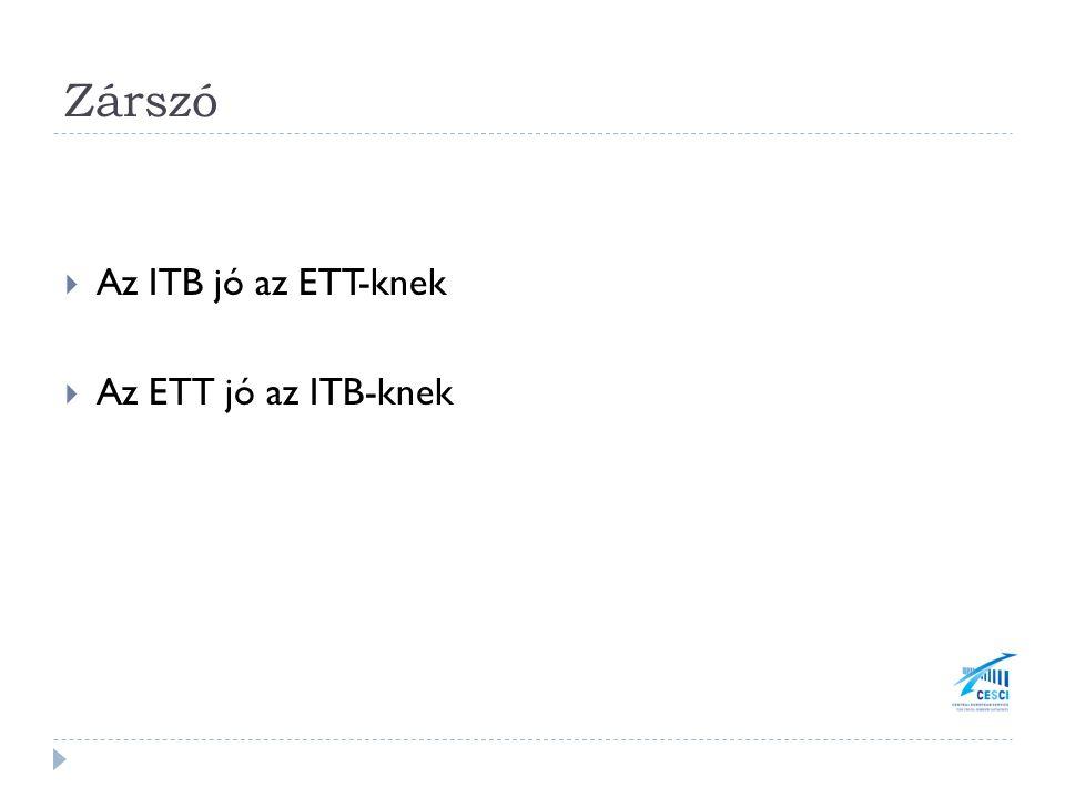 Zárszó  Az ITB jó az ETT-knek  Az ETT jó az ITB-knek