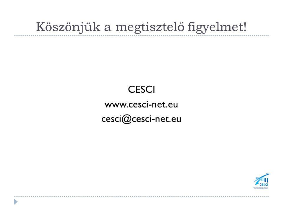 Köszönjük a megtisztelő figyelmet! CESCI www.cesci-net.eu cesci@cesci-net.eu