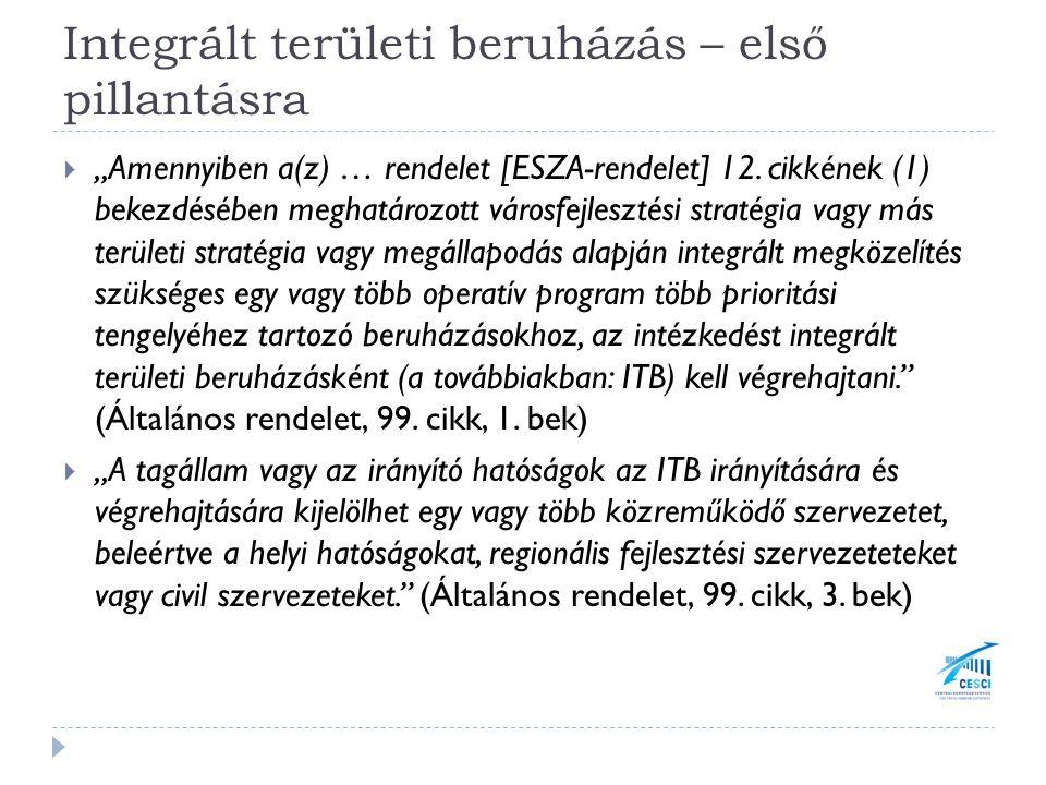 """Integrált területi beruházás – első pillantásra  """"Amennyiben a(z) … rendelet [ESZA-rendelet] 12."""