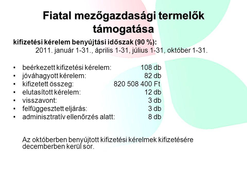 kifizetési kérelem benyújtási időszak (90 %): 2011. január 1-31., április 1-31, július 1-31, október 1-31. beérkezett kifizetési kérelem: 108 db jóváh