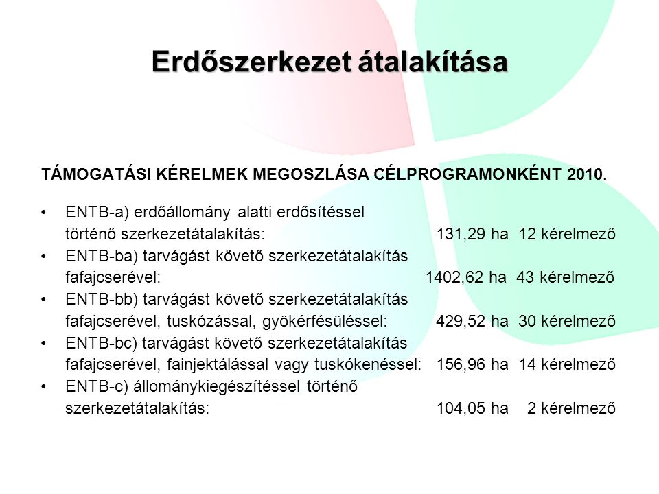 Erdőszerkezet átalakítása ENTB-a) erdőállomány alatti erdősítéssel történő szerkezetátalakítás: 131,29 ha 12 kérelmező ENTB-ba) tarvágást követő szerk