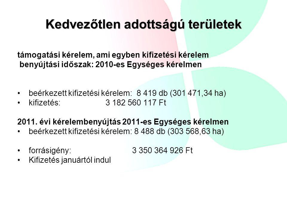 Kedvezőtlen adottságú területek támogatási kérelem, ami egyben kifizetési kérelem benyújtási időszak: 2010-es Egységes kérelmen beérkezett kifizetési