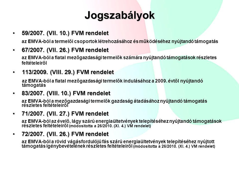 Erdőszerkezet átalakítása beérkezett támogatási kérelmek (2010.10.01.—31.):83 db jóváhagyott támogatási kérelmek:61 db lekötött forrás: folyamatban (de minimis) beérkezett támogatási kérelmek (2011.10.01.—11.30.):140 db jóváhagyott támogatási kérelmek: folyamatban lekötött forrás: folyamatban beérkezett kifizetési kérelmek (-2011.05.15.): 59 db elutasítási okok: - a kérelmező nem rendelkezik jóváhagyott erdőterv határozattal - a tarvágás részterületet érint az erdőrészletben - erdőgazdálkodási jogosultsága nincs a kérelmezőnek - ESZIR-ben az adatok valóságnak való meg nem felelése 2009-2010 EMVA ENTB kötelezettségvállalási összegek összesen: 765 539 728 Ft, ami 2 830 929 €