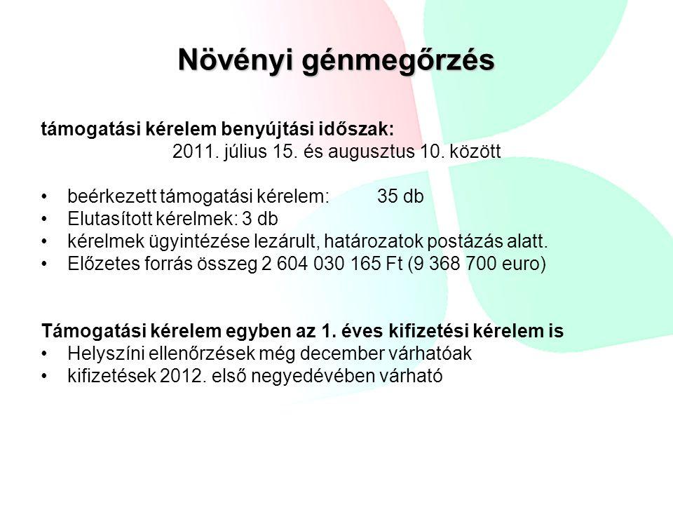 Növényi génmegőrzés támogatási kérelem benyújtási időszak: 2011. július 15. és augusztus 10. között beérkezett támogatási kérelem:35 db Elutasított ké