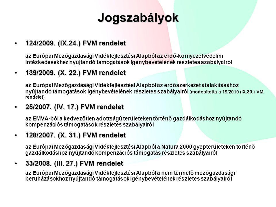 Jogszabályok 124/2009. (IX.24.) FVM rendelet124/2009. (IX.24.) FVM rendelet az Európai Mezőgazdasági Vidékfejlesztési Alapból az erdő-környezetvédelmi