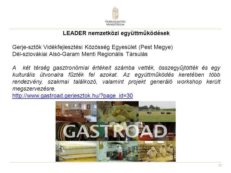 10 LEADER nemzetközi együttműködések Gerje-sztők Vidékfejlesztési Közösség Egyesület (Pest Megye) Dél-szlovákiai Alsó-Garam Menti Regionális Társulás