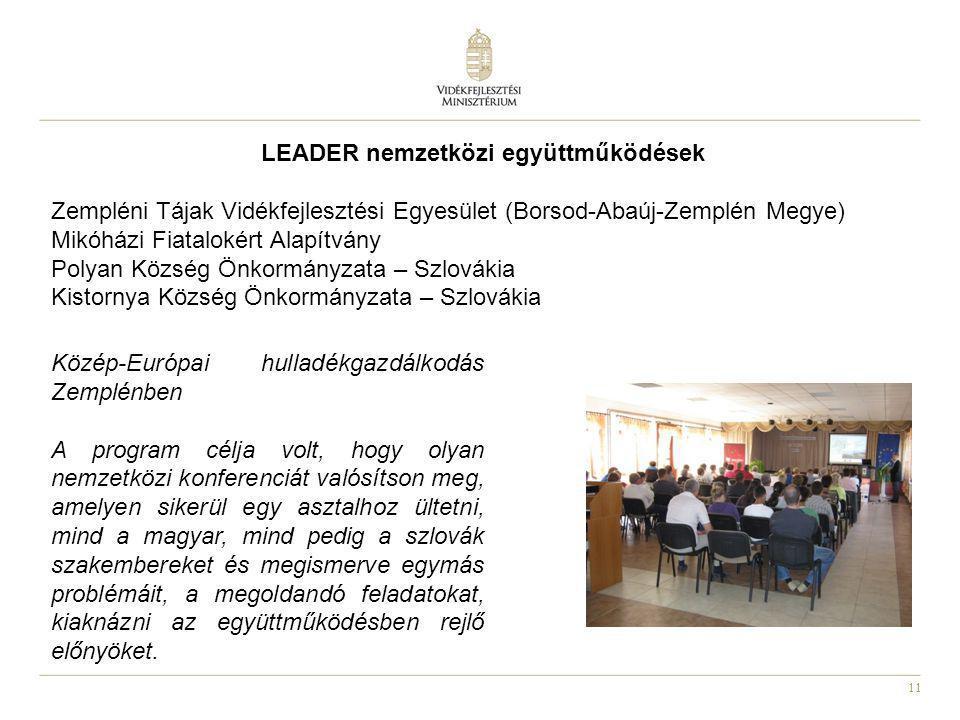 11 LEADER nemzetközi együttműködések Zempléni Tájak Vidékfejlesztési Egyesület (Borsod-Abaúj-Zemplén Megye) Mikóházi Fiatalokért Alapítvány Polyan Köz