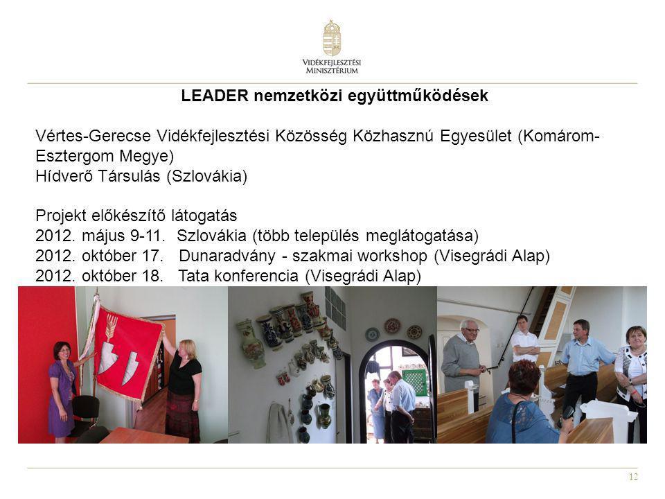 12 LEADER nemzetközi együttműködések Vértes-Gerecse Vidékfejlesztési Közösség Közhasznú Egyesület (Komárom- Esztergom Megye) Hídverő Társulás (Szlovák