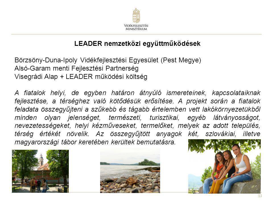 13 LEADER nemzetközi együttműködések Börzsöny-Duna-Ipoly Vidékfejlesztési Egyesület (Pest Megye) Alsó-Garam menti Fejlesztési Partnerség Visegrádi Ala
