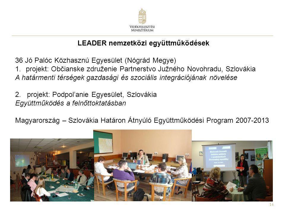 14 LEADER nemzetközi együttműködések 36 Jó Palóc Közhasznú Egyesület (Nógrád Megye) 1.projekt: Občianske združenie Partnerstvo Južného Novohradu, Szlo