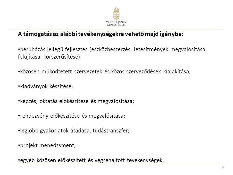 6 A támogatás az alábbi tevékenységekre vehető majd igénybe: beruházás jellegű fejlesztés (eszközbeszerzés, létesítmények megvalósítása, felújítása, k