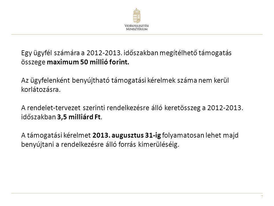 7 Egy ügyfél számára a 2012-2013. időszakban megítélhető támogatás összege maximum 50 millió forint. Az ügyfelenként benyújtható támogatási kérelmek s