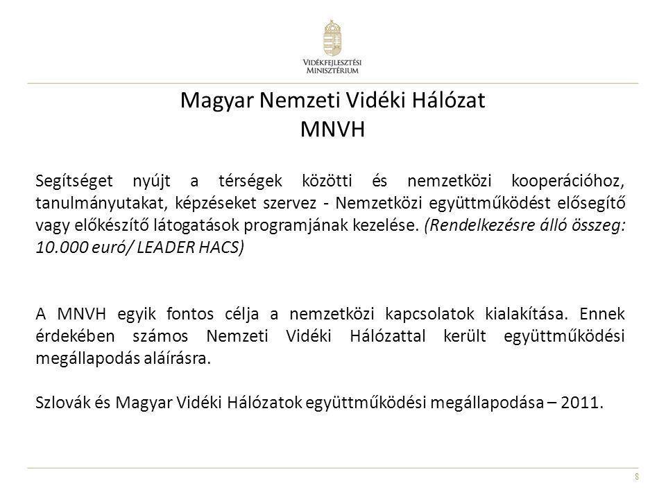 8 Magyar Nemzeti Vidéki Hálózat MNVH Segítséget nyújt a térségek közötti és nemzetközi kooperációhoz, tanulmányutakat, képzéseket szervez - Nemzetközi
