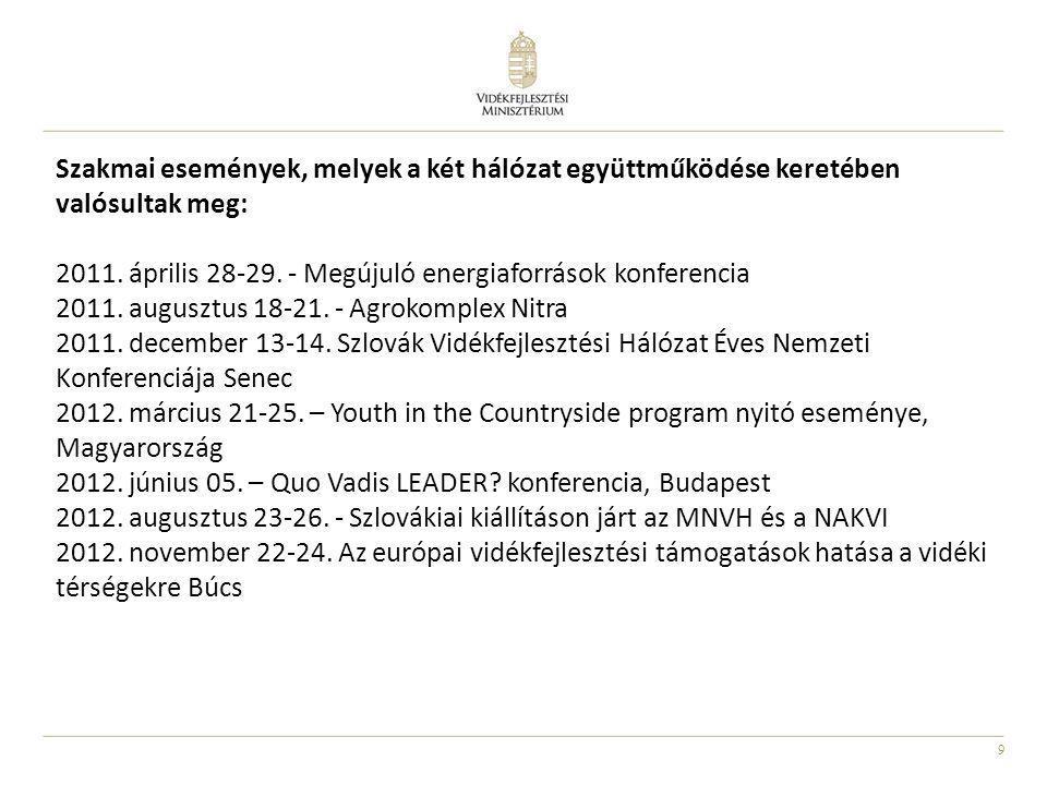 10 LEADER nemzetközi együttműködések Gerje-sztők Vidékfejlesztési Közösség Egyesület (Pest Megye) Dél-szlovákiai Alsó-Garam Menti Regionális Társulás A két térség gasztronómiai értékeit számba vették, összegyűjtötték és egy kulturális útvonalra fűzték fel azokat.