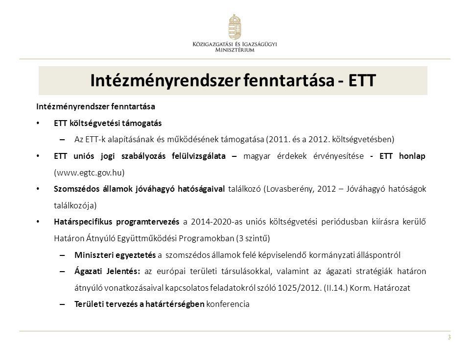3 Intézményrendszer fenntartása - ETT Intézményrendszer fenntartása ETT költségvetési támogatás – Az ETT-k alapításának és működésének támogatása (2011.