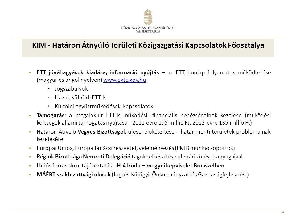 4 ETT jóváhagyások kiadása, információ nyújtás – az ETT honlap folyamatos működtetése (magyar és angol nyelven) www.egtc.gov.huwww.egtc.gov.hu  Jogszabályok  Hazai, külföldi ETT-k  Külföldi együttműködések, kapcsolatok Támogatás: a megalakult ETT-k működési, financiális nehézségeinek kezelése (működési költségek állami támogatás nyújtása – 2011 évre 195 millió Ft, 2012 évre 135 millió Ft) Határon Átívelő Vegyes Bizottságok ülései előkészítése – határ menti területek problémáinak kezelésére Európai Uniós, Európa Tanácsi részvétel, véleményezés (EKTB munkacsoportok) Régiók Bizottsága Nemzeti Delegáció tagok felkészítése plenáris ülések anyagaival Uniós forrásokról tájékoztatás – H-4 Iroda – megyei képviselet Brüsszelben MÁÉRT szakbizottsági ülések (Jogi és Külügyi, Önkormányzati és Gazdaságfejlesztési) KIM - Határon Átnyúló Területi Közigazgatási Kapcsolatok Főosztálya