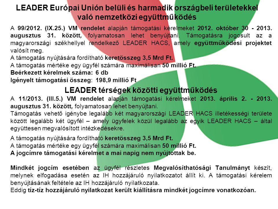 LEADER Európai Unión belüli és harmadik országbeli területekkel való nemzetközi együttműködés A 99/2012. (IX.25.) VM rendelet alapján támogatási kérel