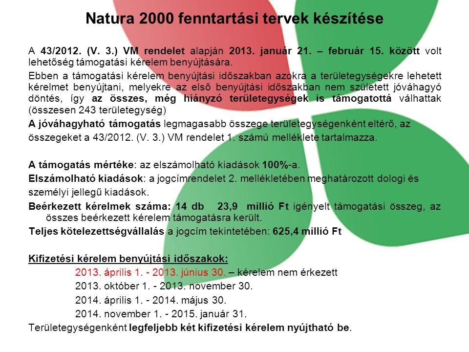 Natura 2000 fenntartási tervek készítése A 43/2012. (V. 3.) VM rendelet alapján 2013. január 21. – február 15. között volt lehetőség támogatási kérele