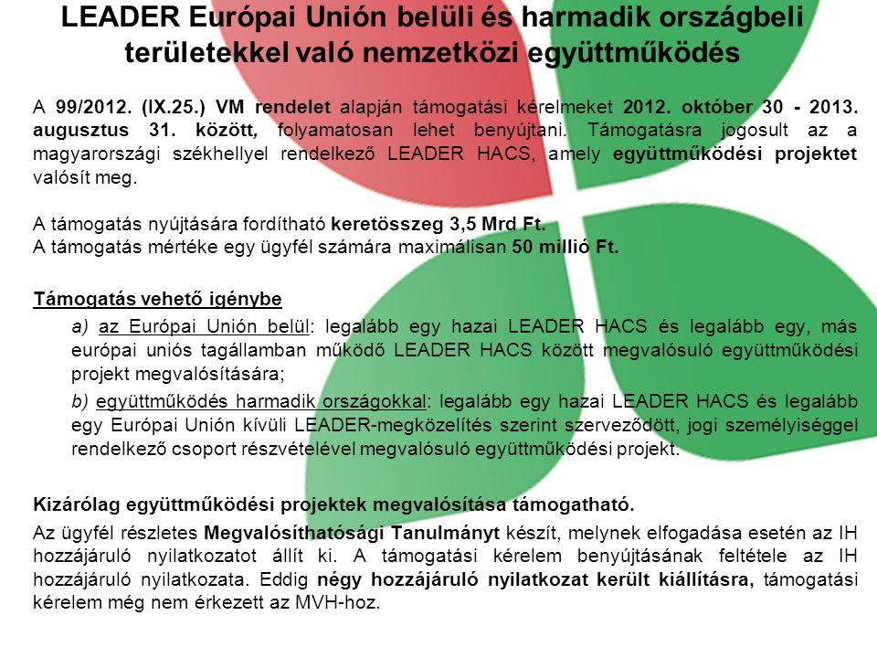 LEADER Európai Unión belüli és harmadik országbeli területekkel való nemzetközi együttműködés A 99/2012.