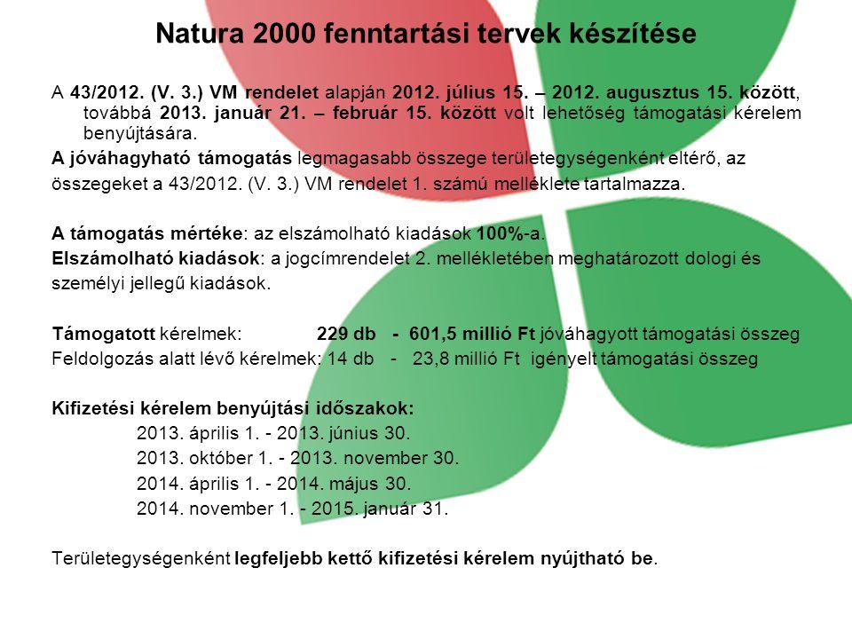 Natura 2000 fenntartási tervek készítése A 43/2012.