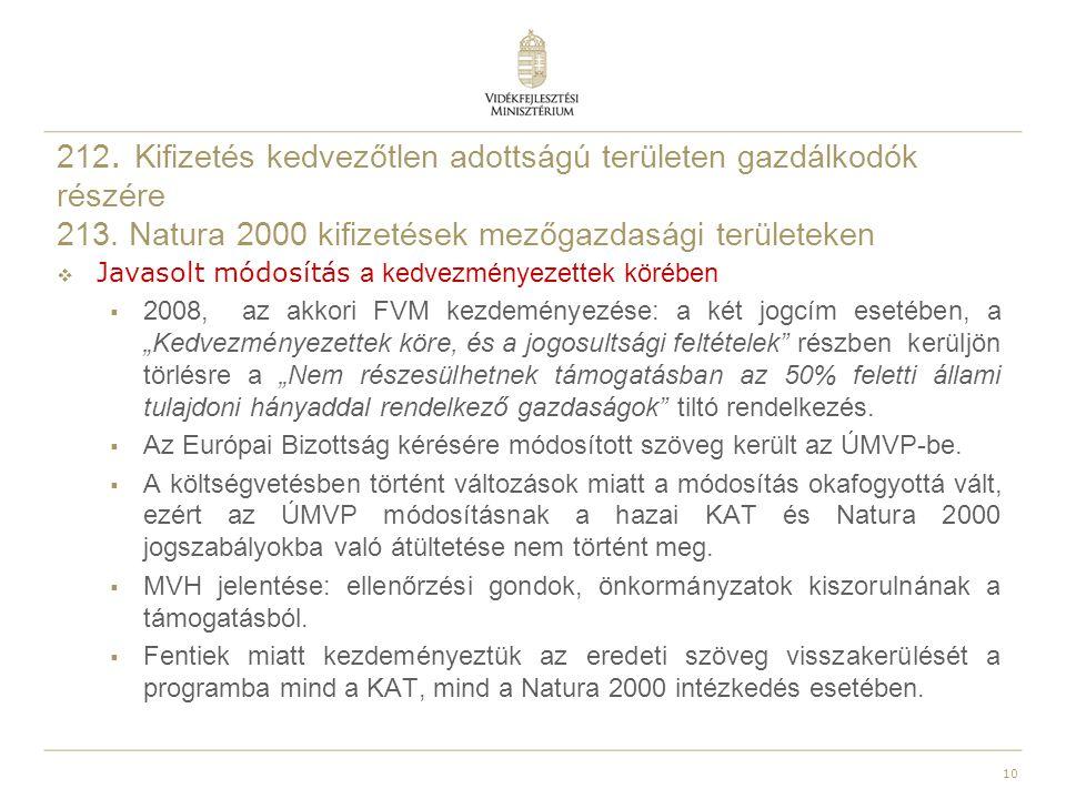 212. Kifizetés kedvezőtlen adottságú területen gazdálkodók részére 213. Natura 2000 kifizetések mezőgazdasági területeken  Javasolt módosítás a kedve