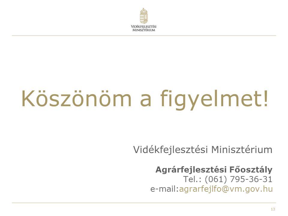 13 Köszönöm a figyelmet! Vidékfejlesztési Minisztérium Agrárfejlesztési Főosztály Tel.: (061) 795-36-31 e-mail:agrarfejlfo@vm.gov.hu