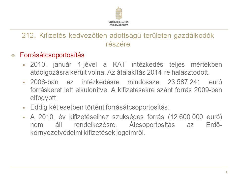 9 212. Kifizetés kedvezőtlen adottságú területen gazdálkodók részére  Forrásátcsoportosítás  2010. január 1-jével a KAT intézkedés teljes mértékben
