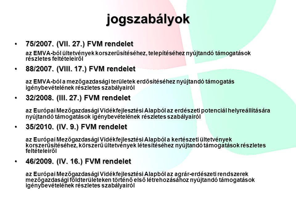 jogszabályok 75/2007. (VII. 27.) FVM rendelet75/2007. (VII. 27.) FVM rendelet az EMVA-ból ültetvények korszerűsítéséhez, telepítéséhez nyújtandó támog