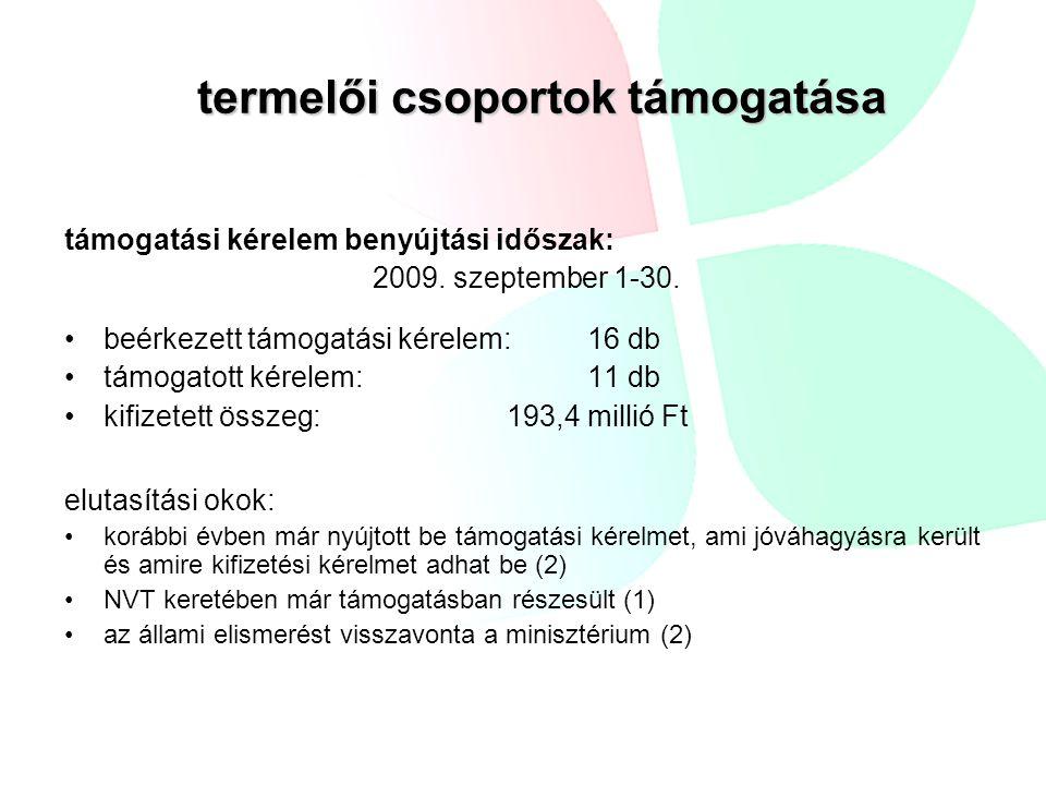 támogatási kérelem benyújtási időszak: 2009. szeptember 1-30. beérkezett támogatási kérelem:16 db támogatott kérelem:11 db kifizetett összeg: 193,4 mi