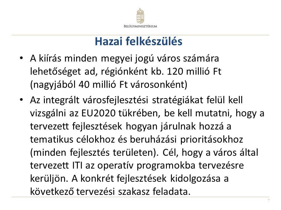 7 Hazai felkészülés A kiírás minden megyei jogú város számára lehetőséget ad, régiónként kb. 120 millió Ft (nagyjából 40 millió Ft városonként) Az int